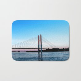 Mississippi River at Burlington, Iowa at Sunset Bath Mat