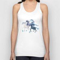 unicorns Tank Tops featuring Running Unicorns by Sumi Illustrator