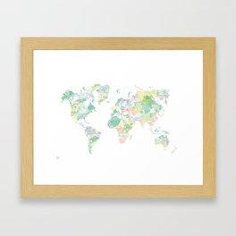 Watercolour World Map (green) Framed Art Print