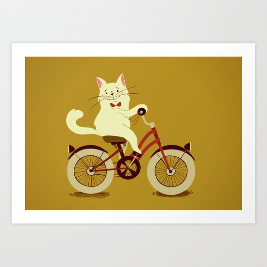 White cat on a bicycle Art Print