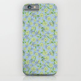 Pretty blue and green tossed floral iPhone Case