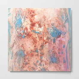 Earth: rust, orange, pink and blue abstract ink spills Metal Print
