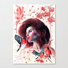 Kissing winter Canvas Print