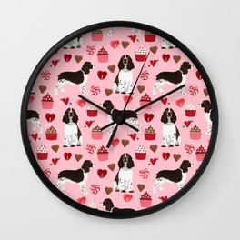 English Springer Spaniel love hearts valentines day gifts for dog person pet friendly pet portrait Wall Clock