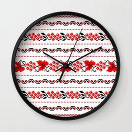 Ethno Ukrainian Pattern - Grape Guelder rose Oak - Symbol Wall Clock