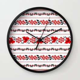 Ethno Ukrainian Pattern - Grape Guelder rose Oak - Symbol Wall Clock