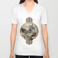 snow leopard V-neck T-shirts featuring Snow Leopard by Jai Johnson