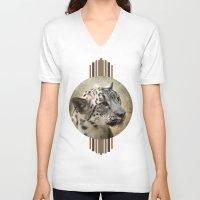 snow leopard V-neck T-shirts featuring Snow Leopard by Jai Johnson