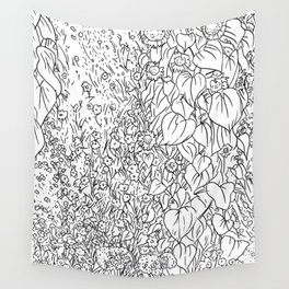 Great Prairie with Sunflowers in Black and White Wall Tapestry