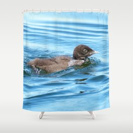 Baby loon solo swim Shower Curtain