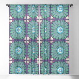 Green and Purple Daises Sheer Curtain