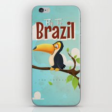 Vintage fly to Brazil Toucan Travel Poster iPhone & iPod Skin