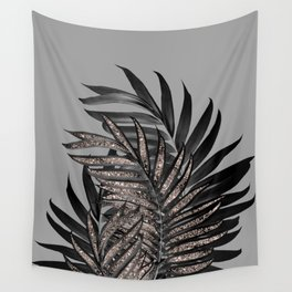 Gray Black Palm Leaves with Rose Gold Glitter #1 #tropical #decor #art #society6 Wall Tapestry