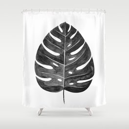 Monstera Leaf | Black and White Shower Curtain