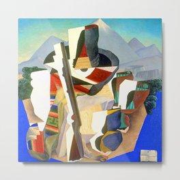 Diego Rivera Zapata Style Landscape Metal Print
