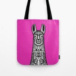 Hot Pink Fuschia Llama Mandala Tote Bag