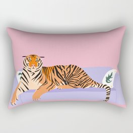 The Boss Tiger laying on the couch Rectangular Pillow