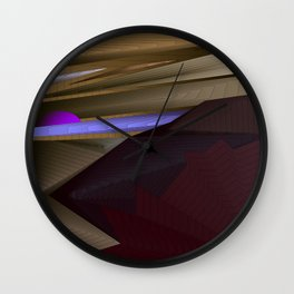 Strange psychedelic landscap with stylised mountains, sea and violet Sun. Wall Clock