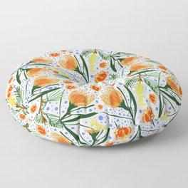 Australian Native Floral Pattern - Grevillea and Pincushion Flowers Floor Pillow