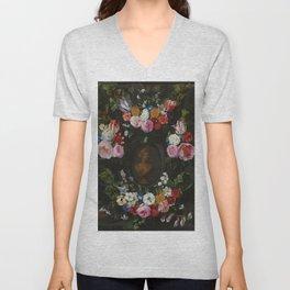 "Jan Philip van Thielen ""Festoon of Flowers surrounding a Bust of Flora"" Unisex V-Neck"