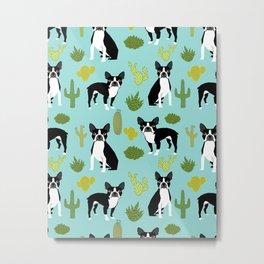 Boston Terrier cactus desert southwest baby mint dog art boston terrier owners pet portraits furbey  Metal Print