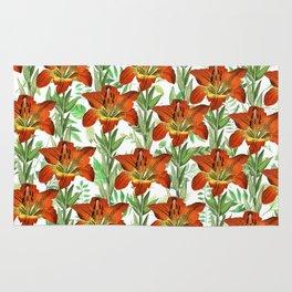 Vintage orange yellow green lily floral pattern Rug