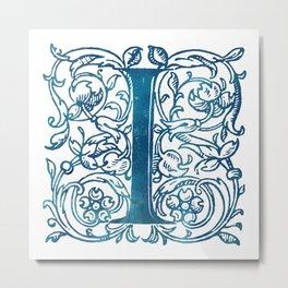 Letter I Antique Floral Letterpress Monogram Metal Print
