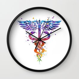 Caduceus Art Pharmacy Art Colorful Watercolor Decor Laboratory Gift Chemistry Art Gift for Doctors Wall Clock