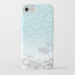 Pretty Turquoise Marble Sparkle iPhone Case