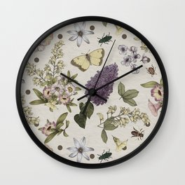 spring flowers with butterfly and beetles II Wall Clock
