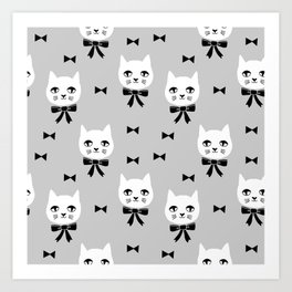 Cute Cats bow ties grey kittens cat art pattern design by andrea lauren Art Print