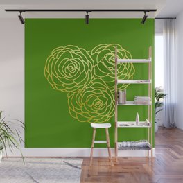Gold Roses - Green BG Wall Mural