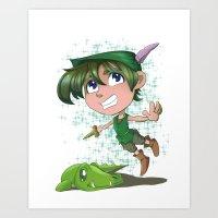 peter pan Art Prints featuring Peter Pan by EY Cartoons