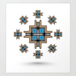 aztec cross mandala Art Print