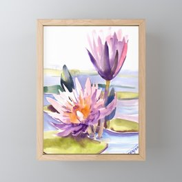 Water Lily,  Lotus, Asian Ink drawing Zen brush pink purple flower Framed Mini Art Print