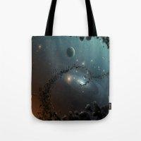 big bang Tote Bags featuring Big Bang by SwanniePhotoArt