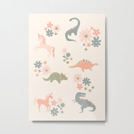 Floral Burst of Dinosaurs and Unicorns in Pink + Green Metal Print