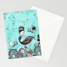 Audrey Mermaid Pattern 10 Stationery Cards