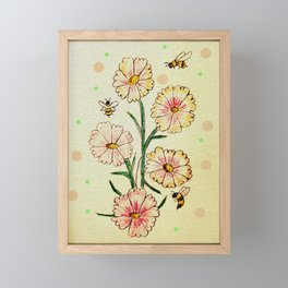 Cosmo Flowers with Bees Framed Mini Art Print
