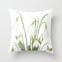white snowdrop flower watercolor Throw Pillow