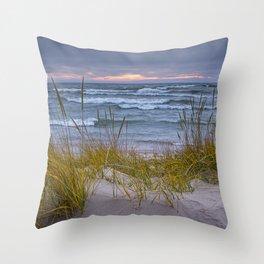 Lake Michigan Dune with Beach Grass at Sunset Throw Pillow