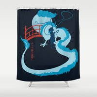 spirited away Shower Curtains featuring Spirited by IlonaHibernis