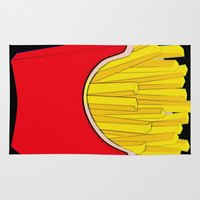 french fries Area & Throw Rugs featuring Do You Want Fries With That by Florian Rodarte