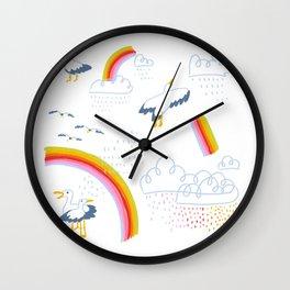 Scotland Seagulls and Rainbows Wall Clock