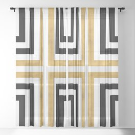 Simple Geometric Cross Pattern - White Gold on Black - Mix & Match with Simplicity of life Sheer Curtain