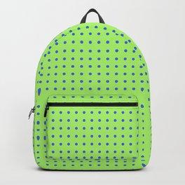 polka dots blue circles on green back ground Backpack