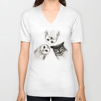 little mix V-neck T-shirts featuring The Owl's 3 by Isaiah K. Stephens