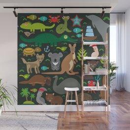Animals Australia: Echidna Platypus ostrich Emu Tasmanian devil Cockatoo parrot Wombat snake turtle Wall Mural