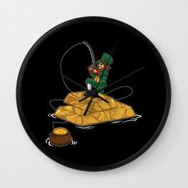 Leprechaun Fishing Gold Coins - Lucky Angler Wall Clock