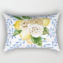 Lemons on Mediterranean tile Rectangular Pillow